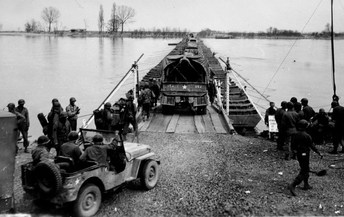 Bridge built by 88th Engineers Battalion over Rhine River... 04/12/02